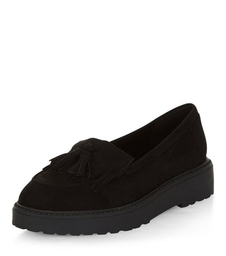 Wide Fit Black Suedette Tassel Trim Loafers  | New Look