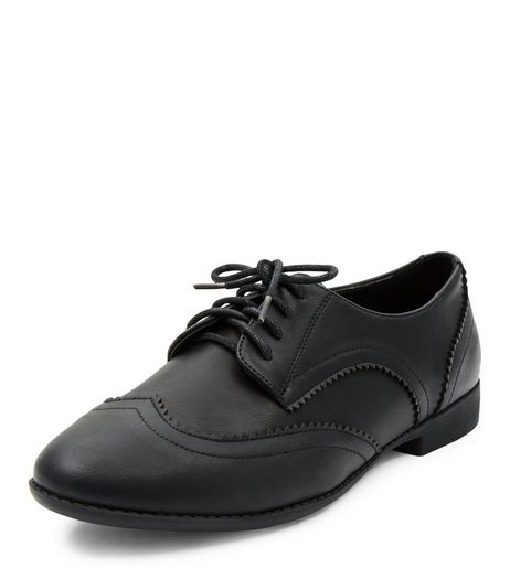 Wide Fit Black Embossed Brogues  | New Look