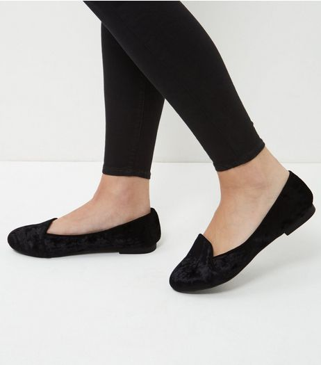 Wide Fit Black Velvet Slipper Shoes  | New Look