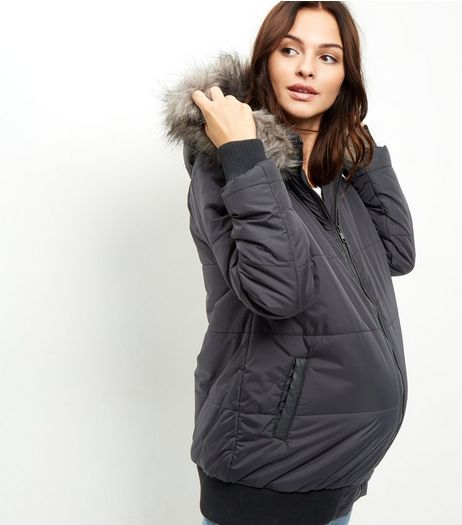 Maternity Black Faux Fur Trim Puffa Jacket | New Look