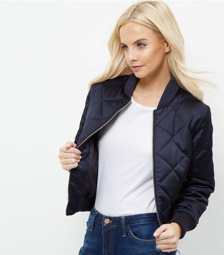 Petite Navy Diamond Quilted Bomber Jacket | New Look