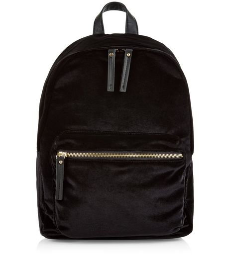 Black Velvet Pocket Front Backpack  | New Look