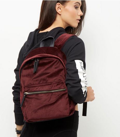 Burgundy Velvet Pocket Front Backpack | New Look