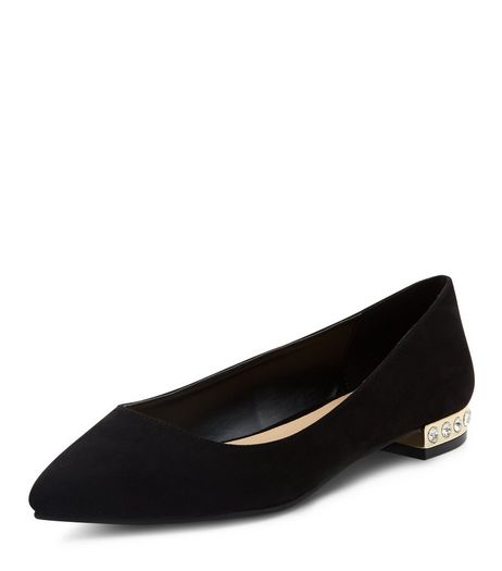 Wide Fit Black Suedette Gem Trim Pointed Pumps  | New Look