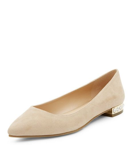 Wide Fit Stone Suedette Gem Trim Pointed Pumps  | New Look