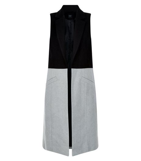 Petite Black Colour Block Sleeveless Longline Jacket | New Look