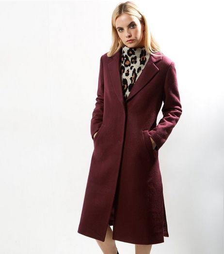 Petite Burgundy Split Side Longline Coat | New Look
