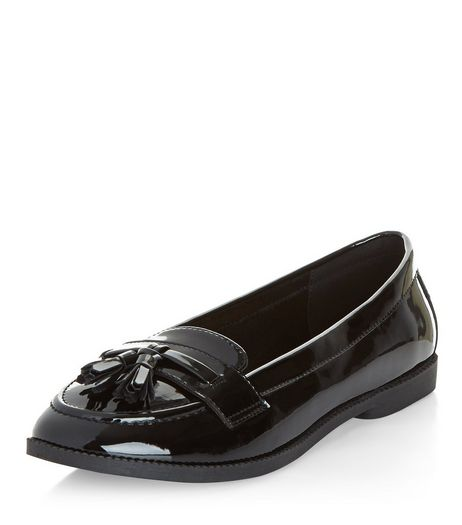 Wide Fit Black Patent Tassel Trim Loafers | New Look