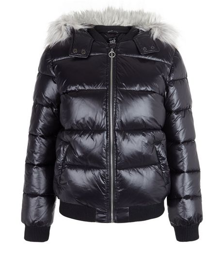 Teens Black Faux Fur Trim Padded Coat | New Look