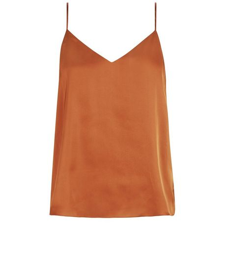 Petite Rust Satin V Neck Cami  | New Look