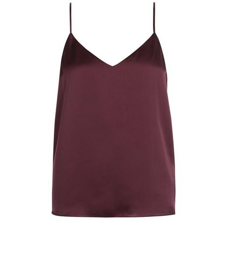 Petite Dark Purple Satin V Neck Cami | New Look