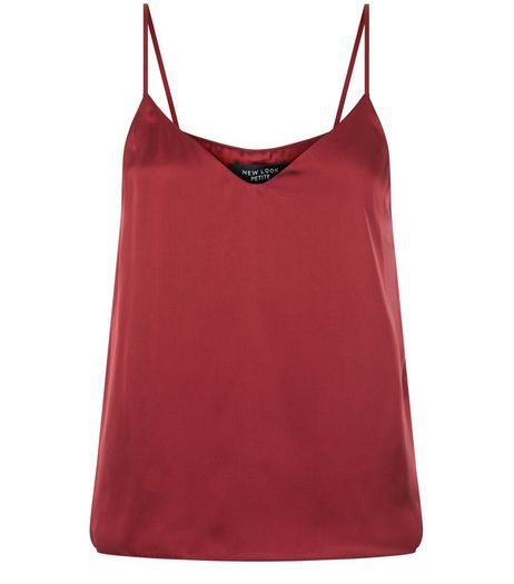 Petite Burgundy Satin V Neck Cami | New Look