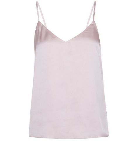 Petite Mid Pink Satin V Neck Cami | New Look