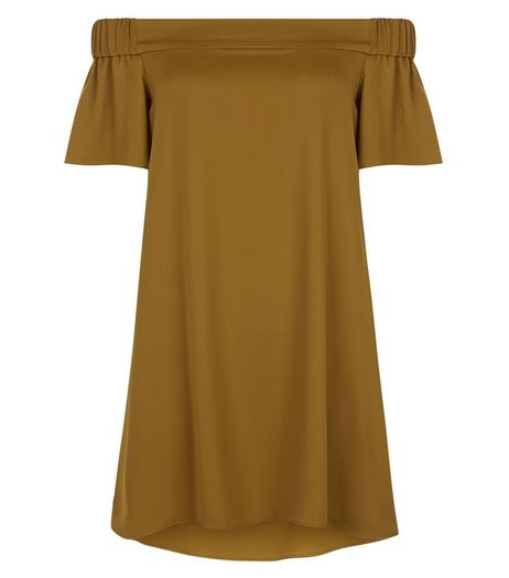 Petite Olive Green Sateen Bardot Neck Slip Dress | New Look
