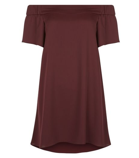 Petite Burgundy Sateen Bardot Neck Slip Dress | New Look