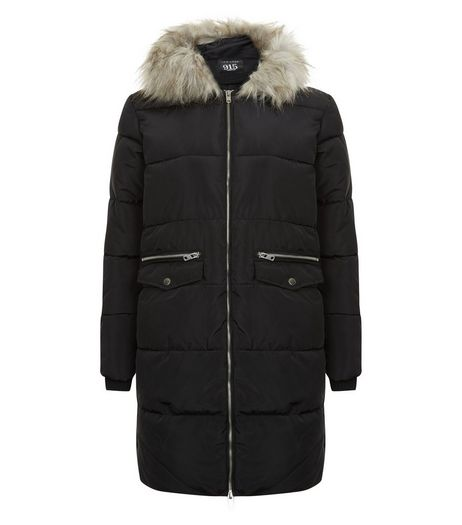 Teens Black Faux Fur Hooded Longline Coat | New Look