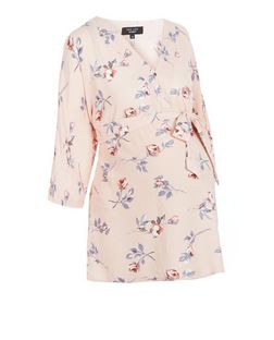 Maternity Pink Floral Print Belted Wide Sleeve Top | New Look