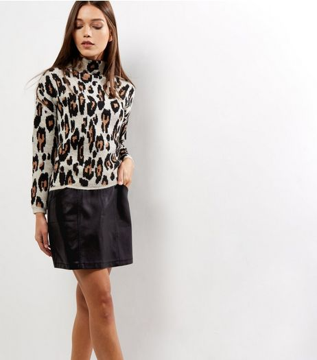 Black Seam Trim Leather-Look Mini Skirt  | New Look
