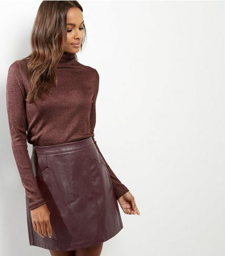 Burgundy Seam Trim Leather-Look Mini Skirt | New Look