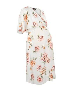 Maternity Cream Floral Print Wrap Dress | New Look