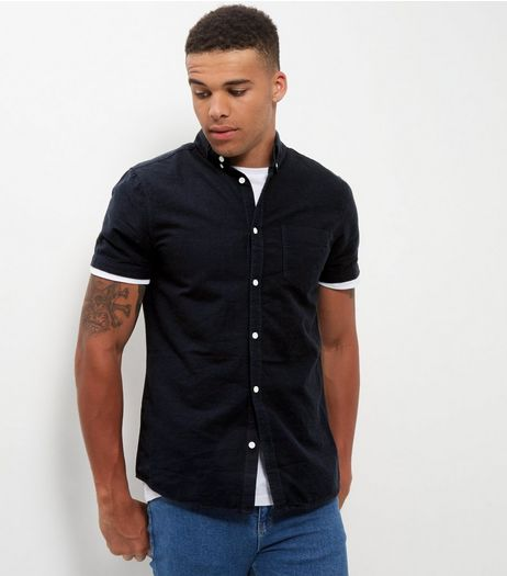 Navy Single Pocket Short Sleeve Shirt  | New Look