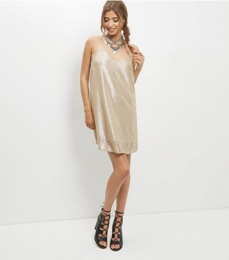 Gold Metallic Pleated Slip Dress | New Look