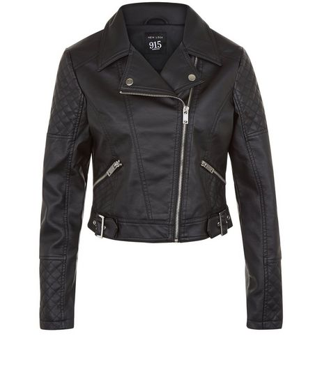 Teens Black Leather-Look Biker Jacket | New Look