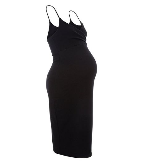 Maternity Black Wrap Front Strappy Midi Dress  | New Look