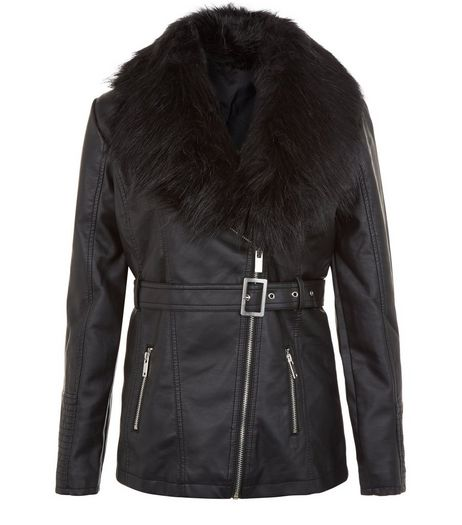 Teens Faux Fur Leather-look Belted Jacket | New Look