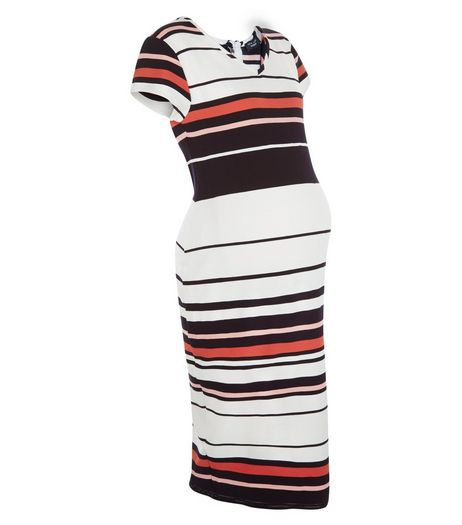 Maternity Blue Stripe V Neck Midi Dress | New Look