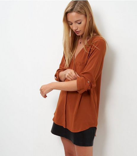 Tall Rust  V Neck Roll Sleeve Shirt  | New Look