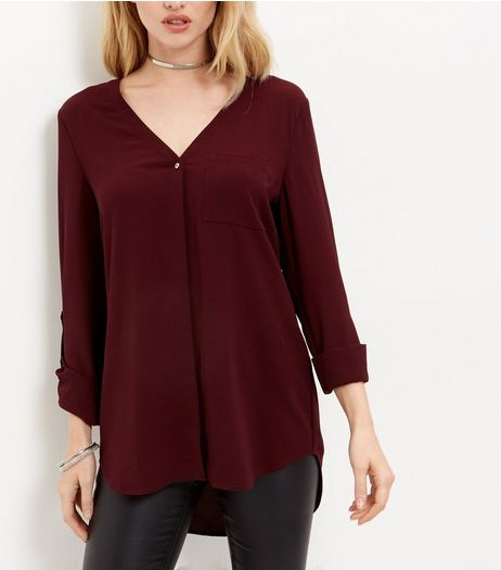 Tall Dark Purple V Neck Roll Sleeve Shirt  | New Look