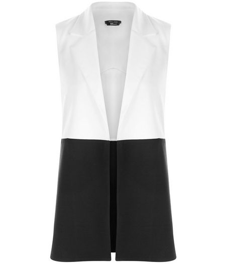 Teens Black Colour Block Sleeveless Jacket | New Look
