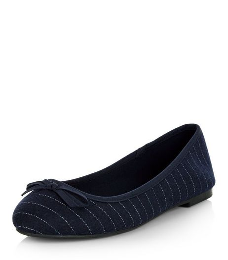 Wide Fit Navy Stripe Ballet Pumps | New Look