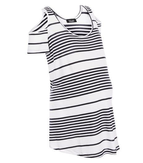 Maternity White Stripe Cold Shoulder Top | New Look
