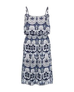 Brave Soul Navy Abstract Print Strappy Dress | New Look