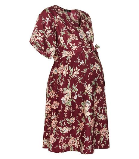 Maternity Red Floral Print Wrap Dress | New Look