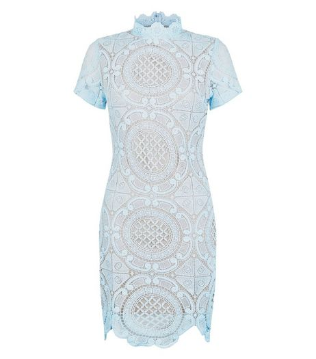 Girl in Mind Pale Blue Lace High Neck Dress | New Look