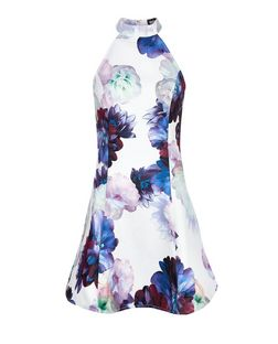 Girl in Mind White Floral Print High Neck Dress | New Look