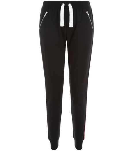 Teens Black Stripe Tape Side Joggers | New Look