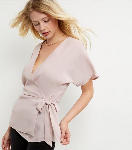 Tall Mid Pink Wrap Tie Side Top | New Look
