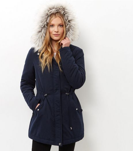 Tall Navy Faux Fur Trim Hooded Parka  | New Look
