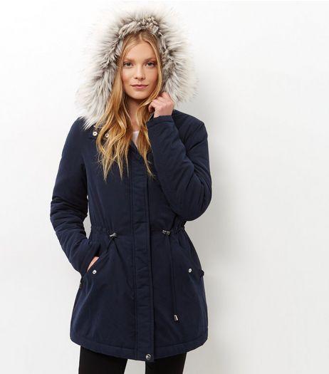 Parka Tall bleu marine à capuche bordée de fausse fourrure | New Look