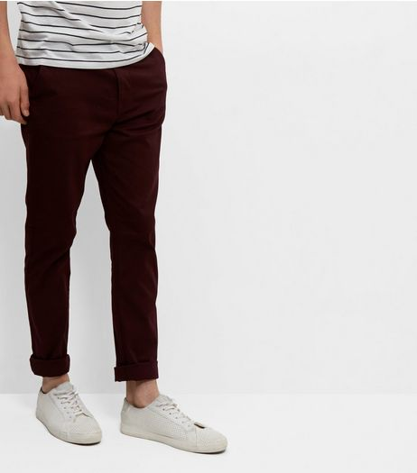 Burgundy Skinny Chinos  | New Look