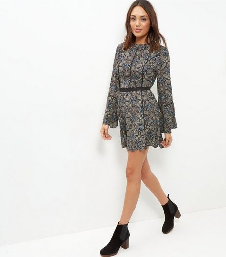 Brave Soul Black Paisley Print Bell Sleeve Dress | New Look