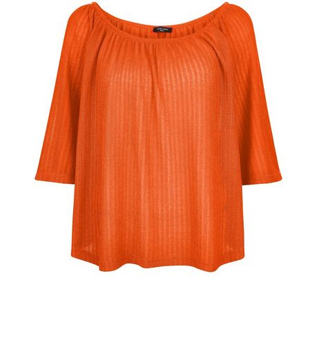 Tall Orange Pointelle Gypsy Top  | New Look
