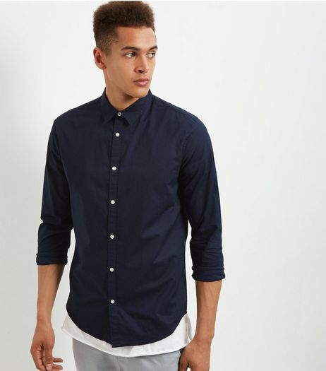 Navy Poplin Washed Long Sleeve Shirt | New Look