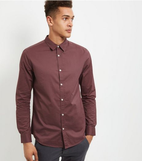 Dark Pink Poplin Washed Long Sleeve Shirt | New Look