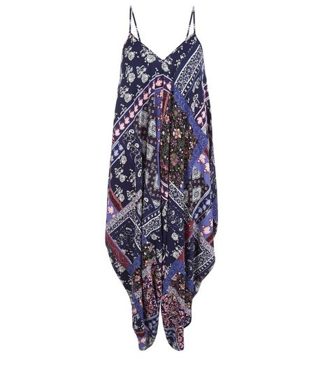 Tall Blue Tile Print Drape Jumpsuit | New Look