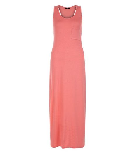 Petite Coral Single Pocket Sleeveless Maxi Dress | New Look